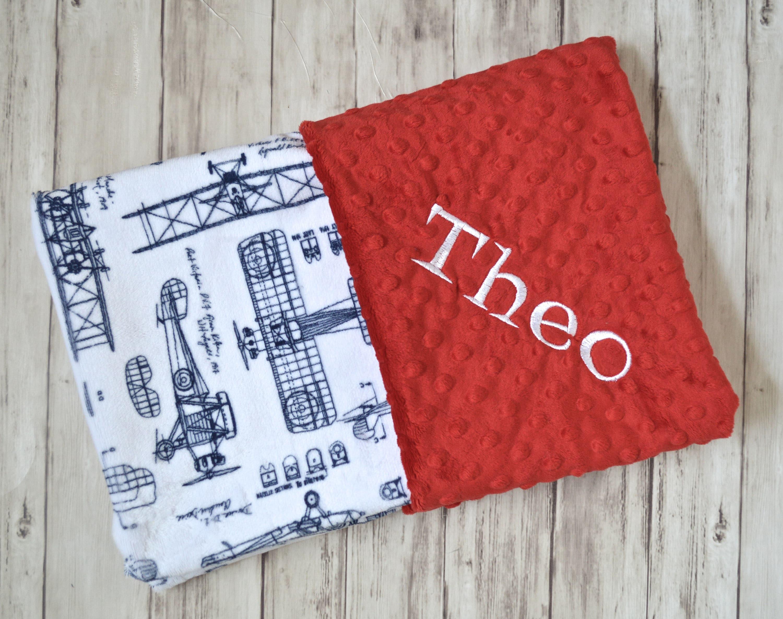 Monogrammed Baby Blanket Red Minky Vintage Airplane Baby