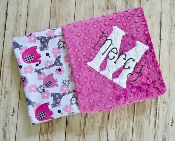 d8d6df5147bce SALE Monogrammed Baby Blanket - Minky Raspberry Pink and Gray Elephants,  Animals - Personalized Girl Gift Blanket with name Newborn