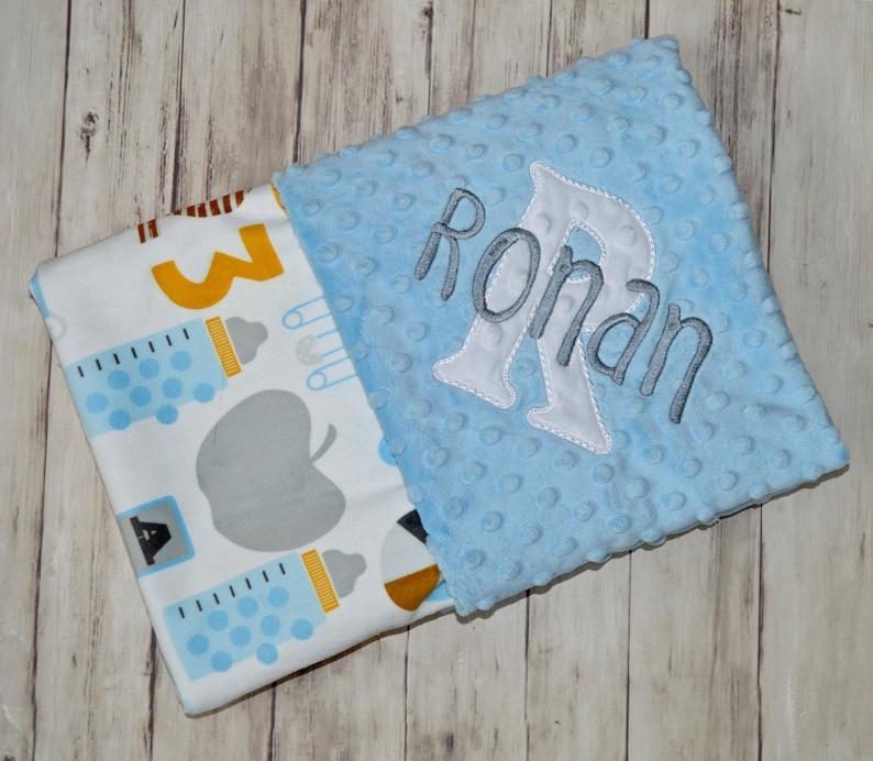 Minky Blanket Baby Blanket Travel Blanket FREE SHIPPING,Lovey Teddy Bear with Blocks Embroidered Blanket,Travel Blanket