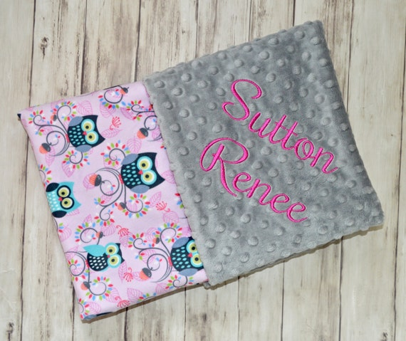 72c7b115c50d7 SALE Minky Monogrammed Baby Blanket, Peony Pink Owls, Turquoise, Gray,  Personalized Girl Blanket with Name Newborn, receiving Charcoal