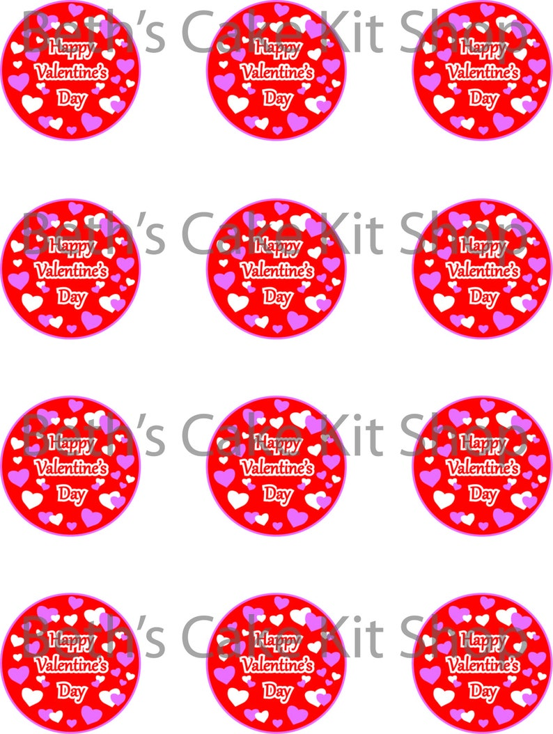 Happy Valentine S Day Cupcake Toppers Download Printable Etsy