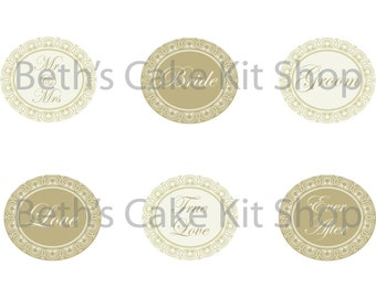 Printable Wedding Cupcake Toppers Download