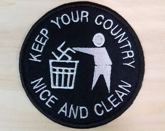 Keep Your Country Clean Sew-On Patch - Nazi Trash