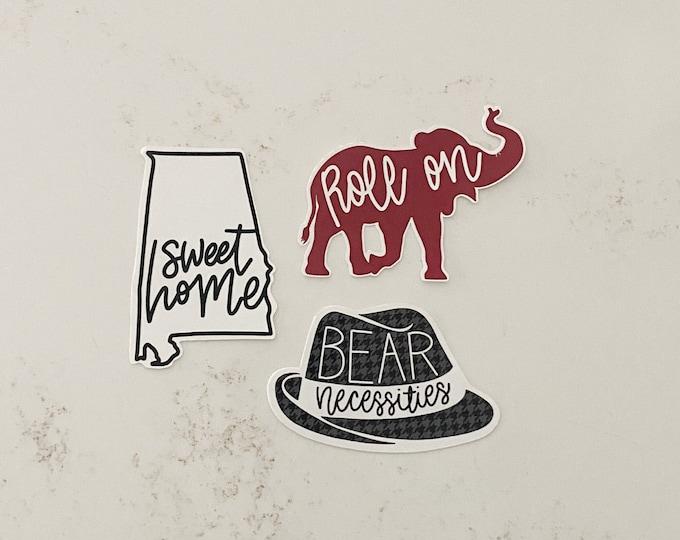 Featured listing image: Alabama Football Sticker Pack State of Alabama Laptop Sticker Alabama Crimson Tide Sticker Alabama Elephant College Student Gift Ideas