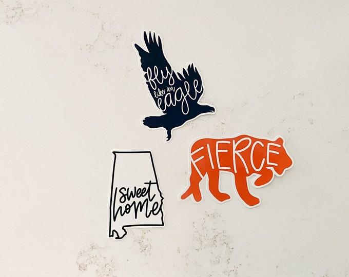 Featured listing image: Auburn Football Sticker Pack State of Alabama Laptop Sticker Encouraging War Eagle Sticker Auburn Tiger College Student Gift Ideas