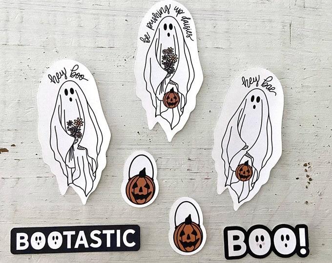 Featured listing image: Halloween Sticker Pack Floral Ghost Sticker Pack Weatherproof Halloween Stickers Floral Halloween Ghost Stickers Boo Stickers