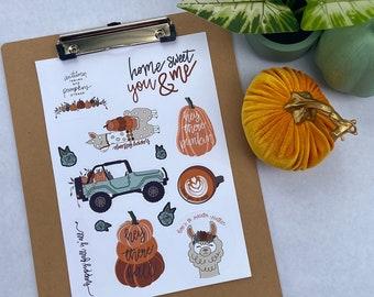 Happy Fall Yall Season Sticker Sheet Happy Fallama Sticker Pumpkin Truck Jeep Sticker Cozy Autumn Sticker Sheet Fall Stickers