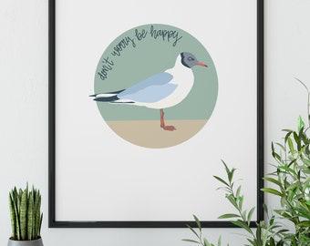 Happy Seagull SVG Don't Worry Be Happy Whimsical Animal Art Beach Decor Coastal Wall Art Digital Download Oversized Wall Art Printable