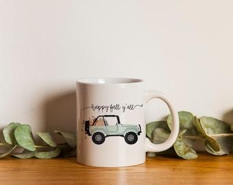 Happy Fall Yall Mug Happy Fall Pumpkin Truck Mug Pumpkin Patch Jeep Autumn Coffee Mug Motivational Fall Mug Gift Ideas