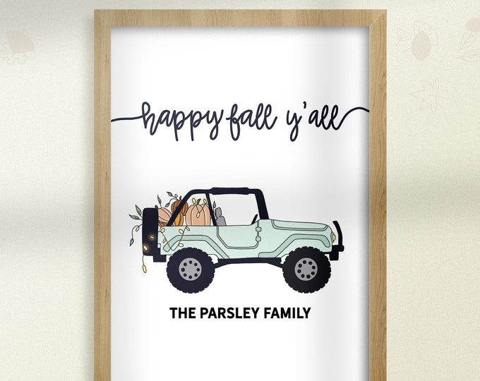 Featured listing image: Happy Fall Pumpkin Truck SVG First Day of Fall Pumpkin Jeep Personalized Family Name Autumn Wall Hanging Downloadable Fall Wall Art