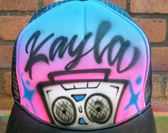 59ed09ffed6 80 s boom box hip hop Airbrush Trucker Hat with Name