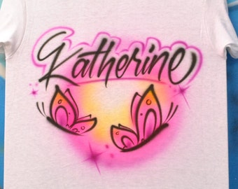 Airbrush T shirt with Name and Butterfly | Script