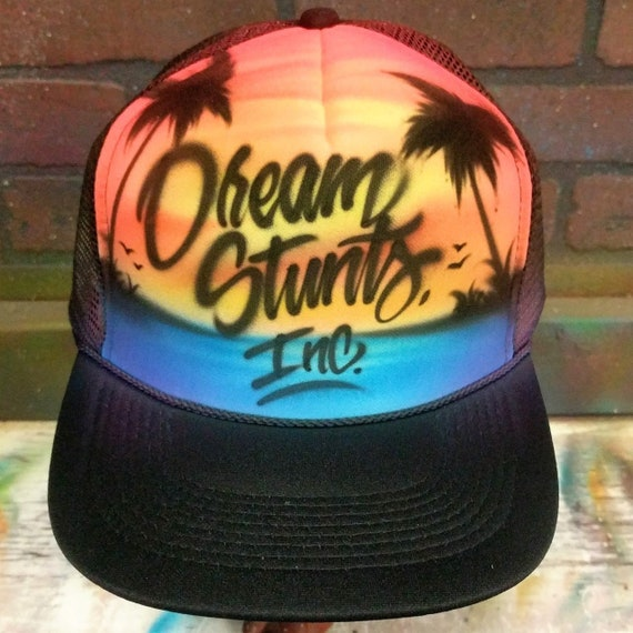 1275094e2ef Custom Airbrush Beach Scene Style Trucker Hat