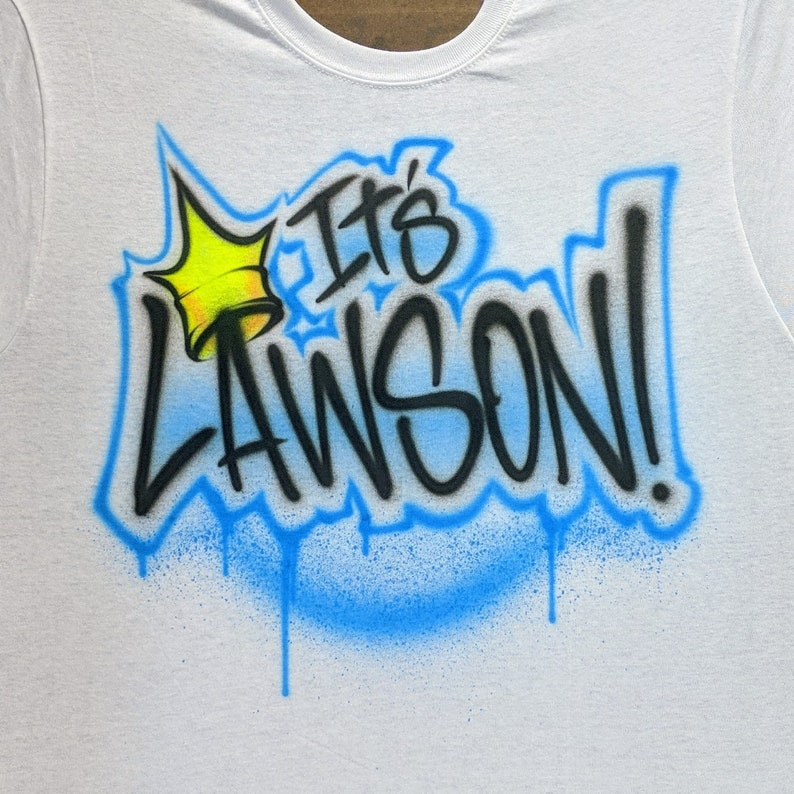 Graffiti Crown Airbrush T shirt Personalized with your name or custom text  and your choice of colors!