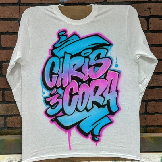 ever popular find lowest price great variety styles Graffiti Couples Names Airbrush T shirt Personalized with your name or  custom text and your choice of colors!