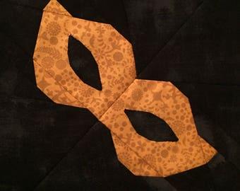 "Mask - 8"" paper pieced quilt block pattern PDF"