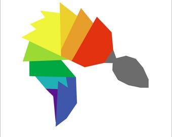 "Rainbow Fox Tail Butt Plug - 8"" foundation paper pieced quilt block pattern PDF"