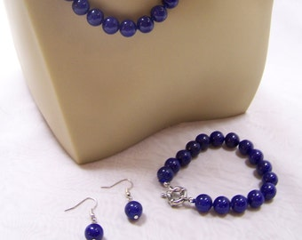 SALE -TAKE 20% OFF-Deep Blue Onyx and Sterling Silver Parure - Free Shipping