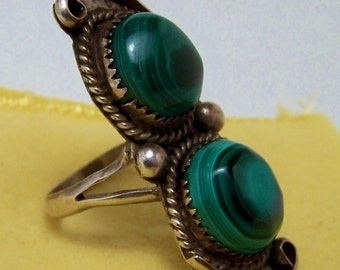SALE -TAKE 20% OFF-Plus Size Sterling and Malachite Stone Ring - Free Shipping