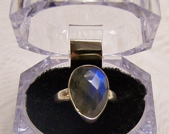 SALE - TAKE 20% OFF - Plus Size Sterling Silver and Raw Mystic Ring- Free Shipping