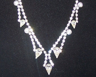 SALE -TAKE 20% OFF-Teardrop Rhinestone Special Occasion Necklace - Free Shipping