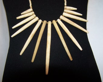 SALE -TAKE 20% OFF-Carved Buffalo Bone Spikes Necklace - Free Shipping