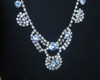 SALE -TAKE 20% OFF-Vintage Baby Blue Rhinestone Necklace - Free Shipping