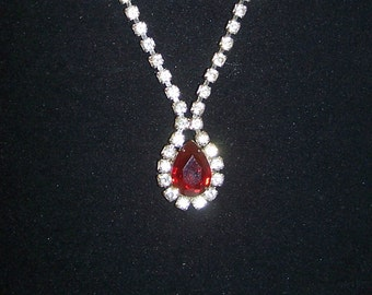 SALE -TAKE 20% OFF-Red Teardrop Rhinestone Necklace - Free Shipping