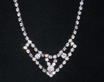 SALE - TAKE 20% OFF -  Art Deco Rhinestone Special Occasion Necklace - Free Shipping