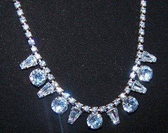 SALE-TAKE 20% OFF- Blue Rhinestone Special Occasion Necklace- Free Shipping