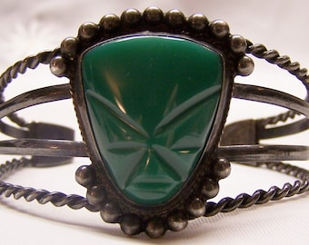SALE -TAKE 20% OFF - Sterling and Carved Green Onyx Bracelet - Free Shipping