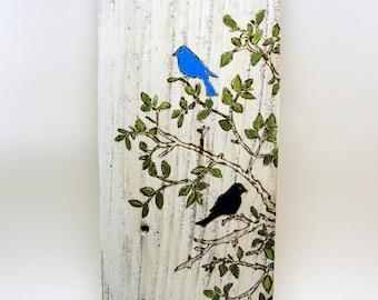 painting on wood birds tree pyrography art
