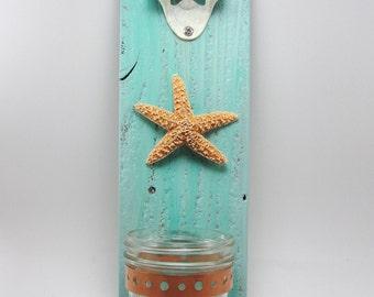 bottle opener wall mount starfish beach upcycled wood turquoise