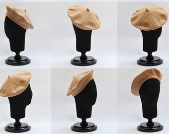 a4159b50c4f2a More colours. Classic French Beret handmade out of felted wool beige winter  hat ...