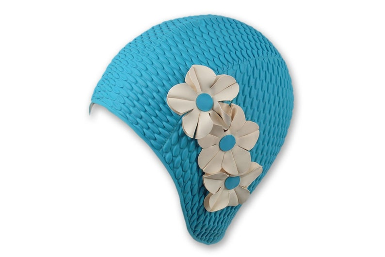 077eab0b765 Swim Cap Vintage style Blue Cap with White Flowers swimming | Etsy