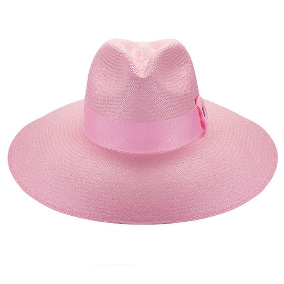 Eva Wide Brim Panamá Baby Pink large Brim handmade Panama hat 926ae6d3bae7