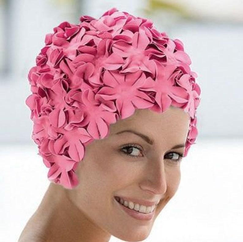 Cap stile Vintage rosa nuotare nuoto cappello fiore fiore  991c5dc9d1b5