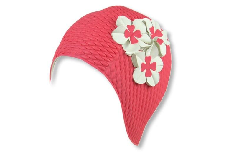 dece2a3783c Swim Cap Vintage style Hot Pink Cap with White Flowers | Etsy