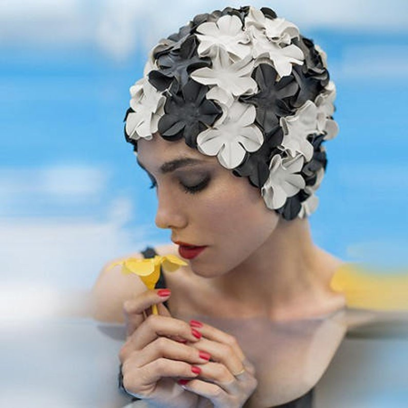 5e5fa0ce983 Retro Swim Cap Vintage style Black and White swimming hat | Etsy