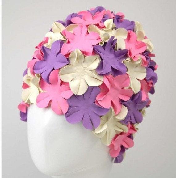 ac997893515 Swim Cap Vintage style Pink Purple White swimming hat Flower | Etsy