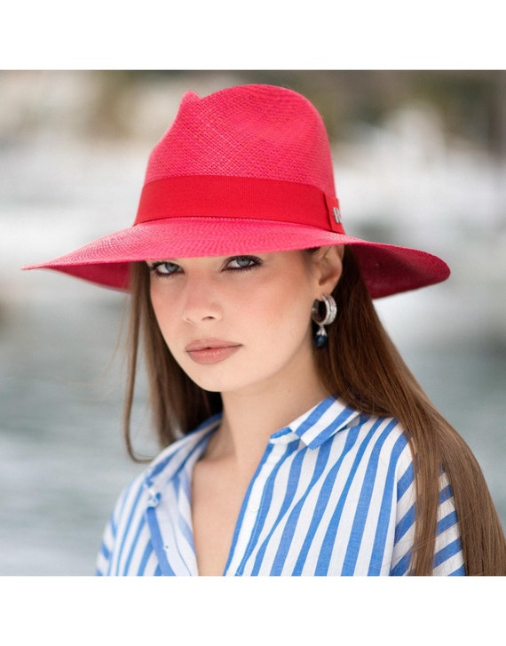 Summer Panama Eva Wide Brim Panamá Red  dc93895b1b46