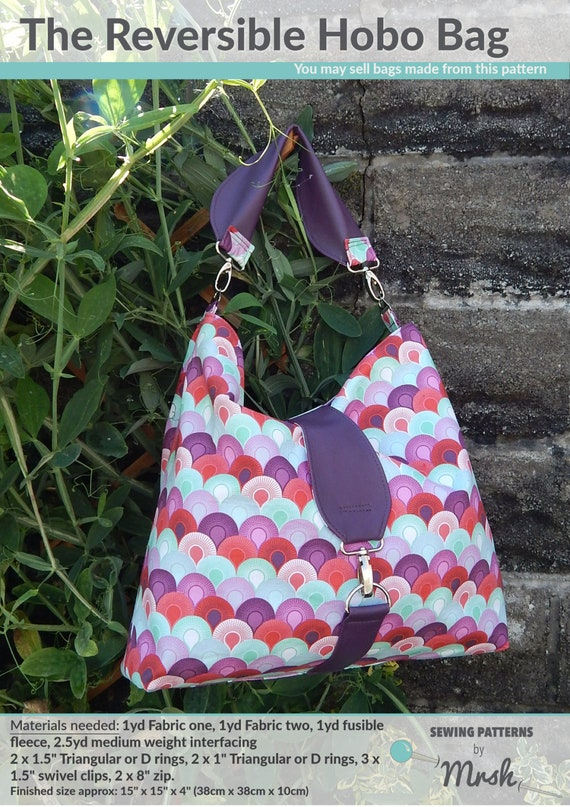 7c66794cd8d The Reversible Hobo bag PDF Sewing Pattern by Mrs H   Etsy