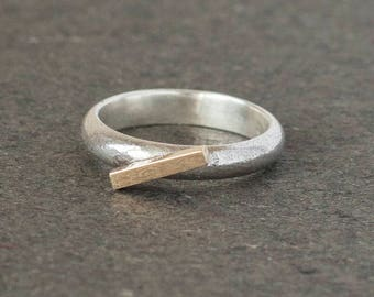 Sterling Silver Ring with 9ct Yellow Gold Bar