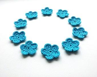 Crochet Flower Applique, Turquoise, Set of 10