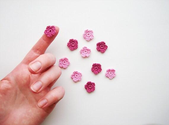 Crochet apliques de flores pequeñas florecillas