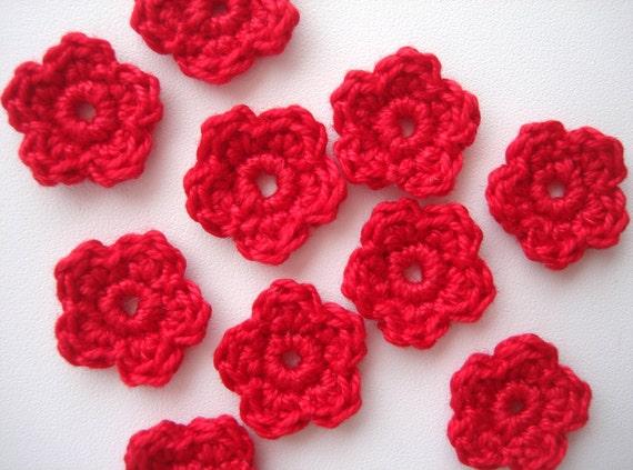 Crochet flores apliques lindas pequeñas florecillas motivos