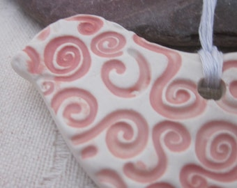 Pink and White Spiral Robin Bird Ornament