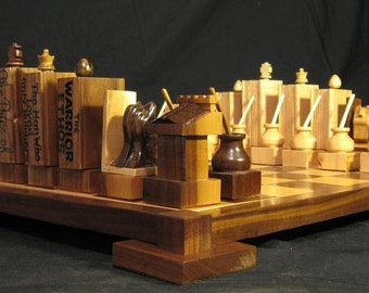Chess Set Literary Chess Set.  Chess for the Library,  Hand carved, custom themed Chess Sets, Chess tables, chess boards by Jim Arnold Chess