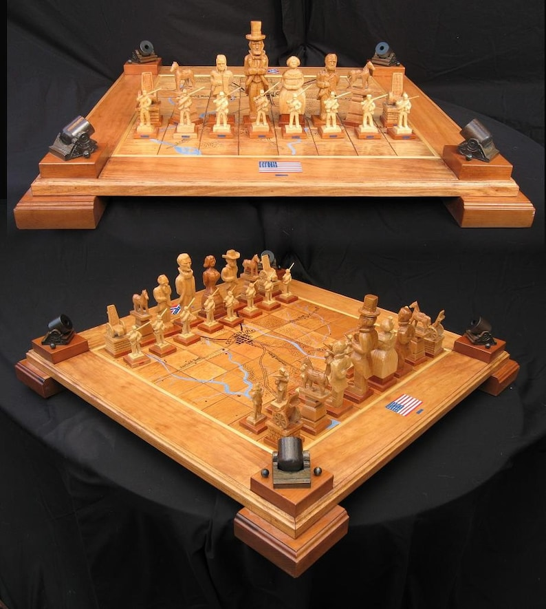 Chess Set Handcarved Civil War Chess Set on etsy handmade custom chess  sets, custom chess pieces, and custom chess boards