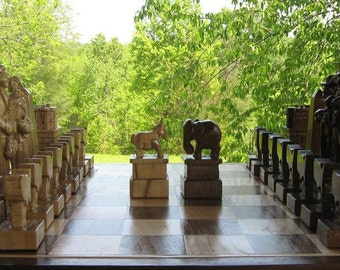 Democrats versus Republicans, custom chess sets and custom chess pieces